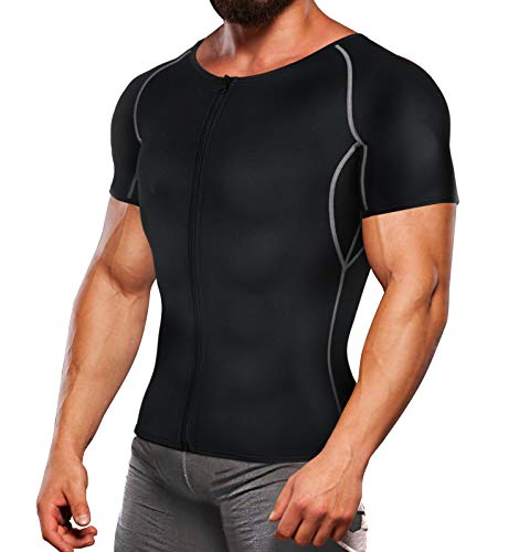 TAILONG Workout Suits for Men Weight Loss T Shirts Waist Trainer Sweat Top Sauna Hot Gym Jacket Body Shaper (Black, XL)