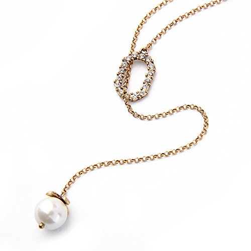 Vintage pearl pendant amazon y necklaces simulated pearl pendant vintage adjustable long chain necklace for women mozeypictures Gallery