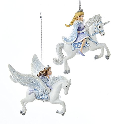 Kurt Adler 1 Set 2 Assorted Resin Princess on Unicorn And Pegasus 4 Inch Ornaments