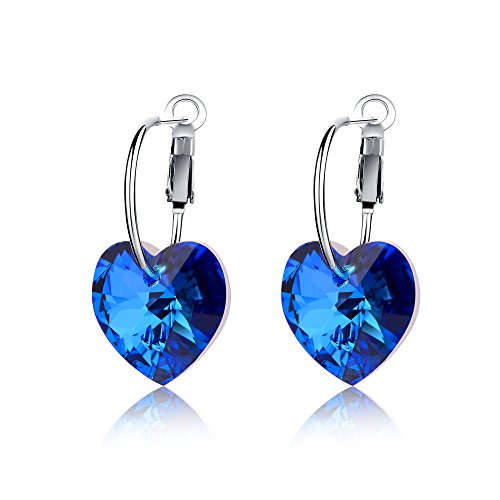 """LadyRosian """"Love Heart"""" 925 Sterling Silver Hook Dangle Love Earrings with Blue Swarovski Crystals Fashion Jewelry Simple Gifts for Sisters Best Friends (Blue) Jewelry Crystal Earrings"""