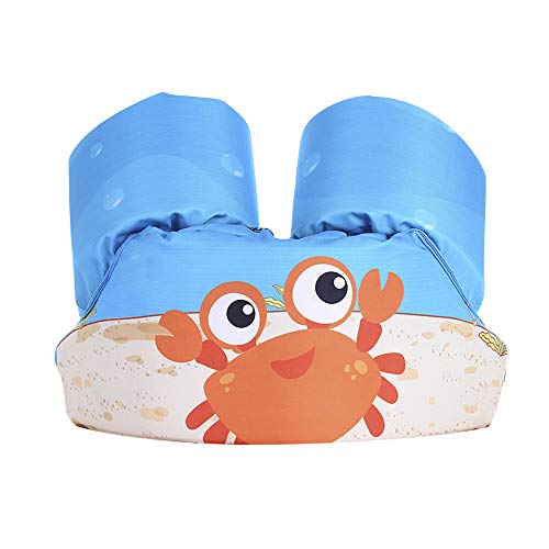 Techcity Toddler Life Jacket Kids Learn to Swim Safty Aid Baby Arm Floaties Kids Life Vest 30-55 lbs (Orange Crab)