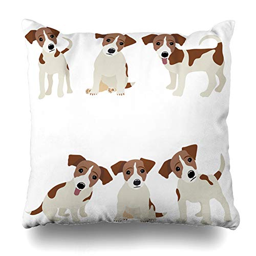 Ahawoso Throw Pillow Cover Square 18x18 Inches Pet Russel Jack Russell Terrier Dog Cute Funny Avatar Puppy Design Zippered Cushion Pillow Case Home Decor Pillowcase