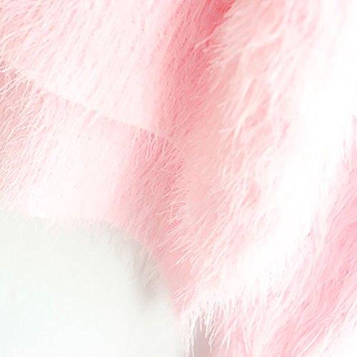 YOUJIA Sueter Tejido Mohair de Mujer Jerseys de Punto Mujeres Jersey Pullover Sueteres Tejidos Redondo Cuello Sueters Suave para Dama Pink