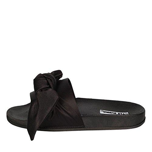 Flat Toe Satin Shoes Slip Sandal Open Flop Bow CAPE Black ROBBIN Slide Women on Slipper Flip qW0I6wnztw
