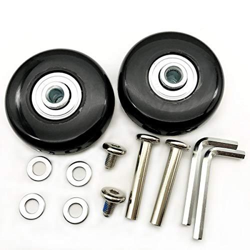 (1 Pair Luggage Suitcase Replacement Wheels Axles 30 Deluxe Repair 50x18mm (Black))
