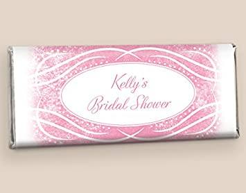 24 fully assembled custom hersheys candy bar bridal shower favors in pink