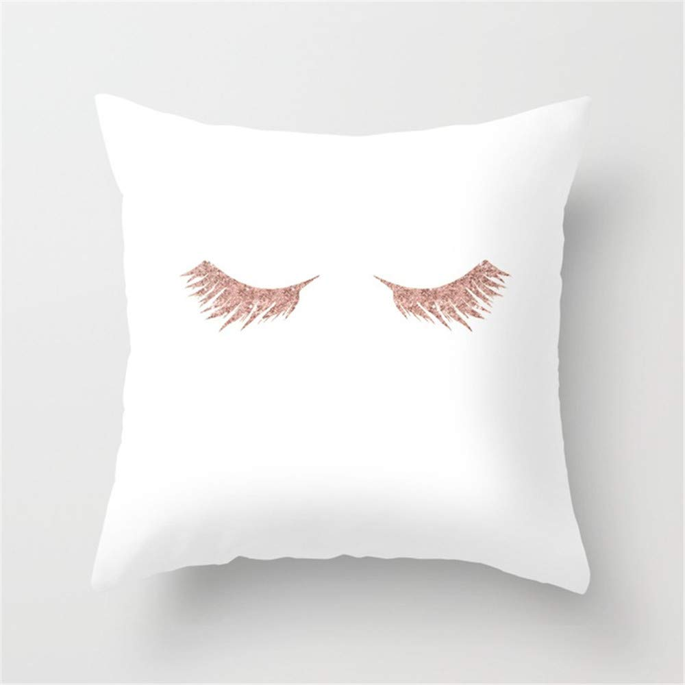 Jay94 Pretty Lashes Rose Gold Glitter Pink Throw Pillow Case Cushion Cover 18 X 18 inches
