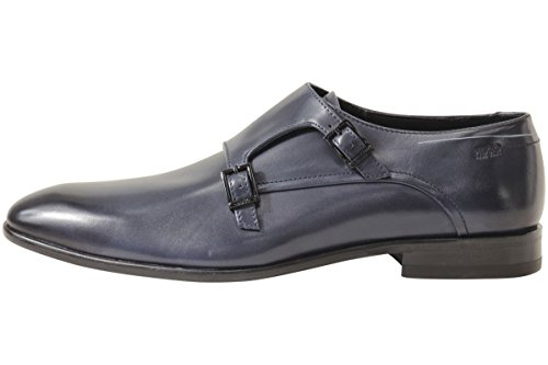 Hugo Boss Hombres Burnished Toe Doble Monk Zapatos Azul Oscuro