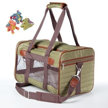 """The Original Classic Deluxe Olive Green Sherpa Dog Pet Carrier Bag Soft Sided Crate up 22lbs 20″L x 11.75 W"""" x 11.5″ Free Mini Go Dog Mini Baby Dragon Toy, My Pet Supplies"""