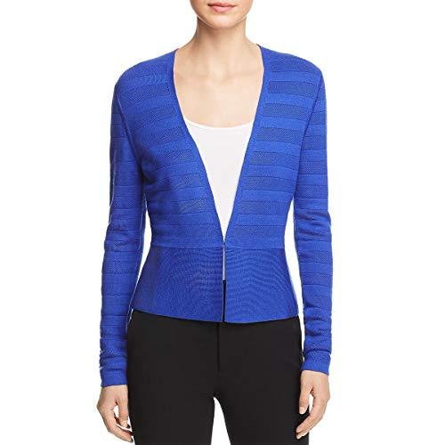 Hugo Boss BOSS Womens Farlotte Virgin Wool Textured Cardigan Sweater Blue M