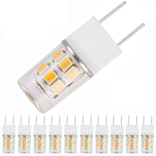 McDen G8 LED T4 Halogen Xenon Replacement Light Bulb, 2W, 20W Equivalent, Under-Counter Lights, Puck Lights, Kitchen Light, Not Dimmable (10-Pack, Warm White 3000K) ()
