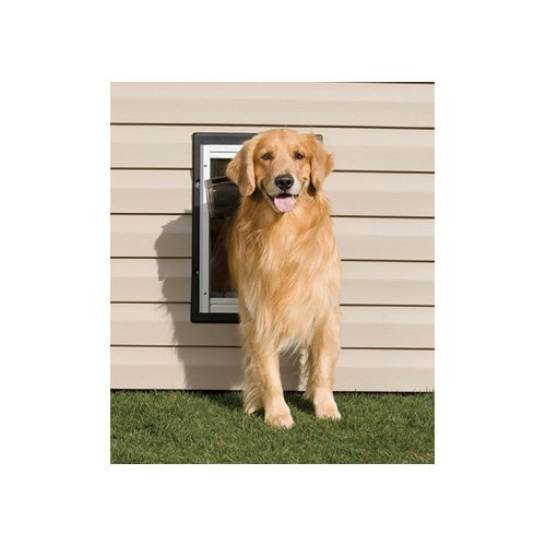PetSafe Wall Entry Aluminum Pet Door with Telescoping Tunnel, Taupe and White