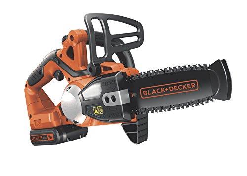 Black + Decker 18V 2.0Ah Lithium-Ionen Akku-Kettensäge, 20cm Schwertlänge, 16cm Schnittbreite, Ersatzkette, GKC1820L20K