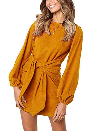 MIDOSOO Womens Casual Round Neck Puff Sleeve Solid Pencil Dress with Belt Orange M