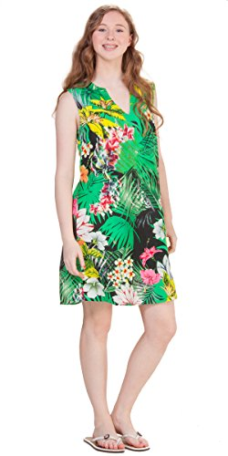(Peppermint Bay A-line Sleeveless Rayon Shift Dress in Midnight Palms (Small (2-4), Green/Yellow))