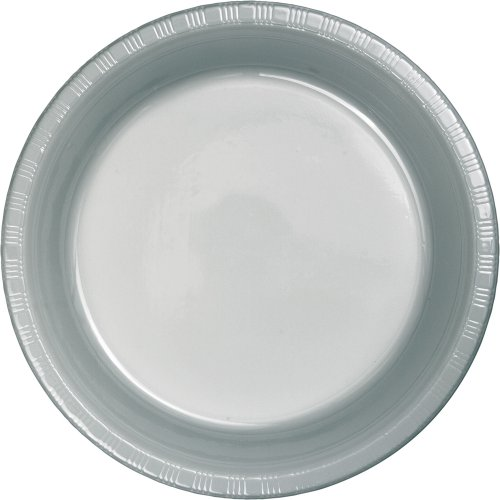 Creative-Converting-Touch-of-Color-50-Count-Plastic-Dinner-Plates-Shimmering-Silver