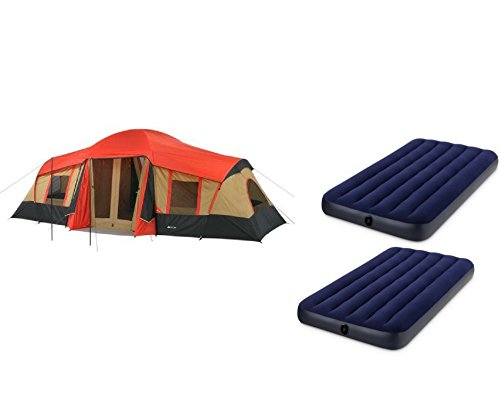 OZARK Trail Family Cabin Tent (Red,Brown,Black, 10 Personw with Airbed)