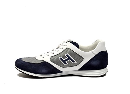 Hogan Sneakers Uomo HXM2050U670E4U873G Camoscio Bianco/Blu