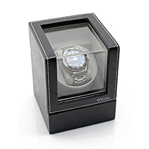 Versa Elite Single Watch Winder in Black Leather