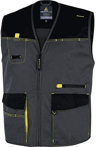 Deltaplus DMGILGJTM D-Mach Arbeitsweste Aus Polyester Baumwolle Gr/ö/ße M Grau-Gelb