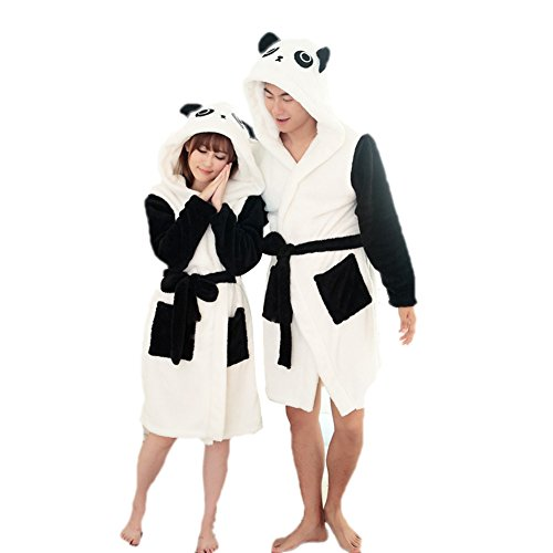 FloYoung Unisex Pajamas Panda Bathrobe 2016 Sleepwear Flannel Hooded Nightgown L ()