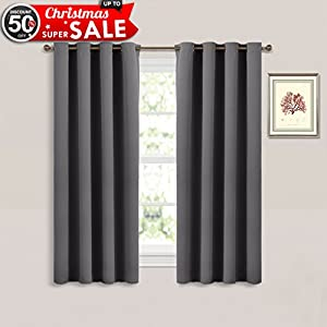 Bedroom Blackout Curtain Window Treatment   (Grey Color) Home Decoration  Thermal Insulated Room Darkening Drapes / Drapery By NICETOWN, W52 X L63  Inch, ...
