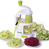 Spiralizer Vegetable Slicer, HuTools Zucchini Spaghetti Maker, Built-in 4-in-1 Blades Zoodle Maker, Veggie Spiralizer with Strong Suction Cup, Zoodler Spiralizer with Cleaning Brush