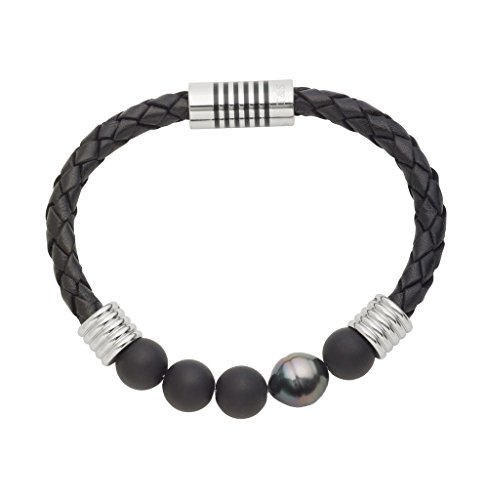 11mm Natural Cultured Tahitian Pearl (TARA Legacy Natural Color 10x11mm Tahitian Cultured Pearl and Agate Stainless Steel Braided Bracelet (8.25))