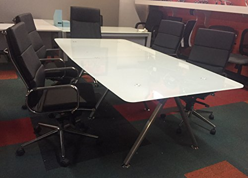 Modern Tempered White Glass Conference table 95' by 46' Boat Shaped 3/4' thick