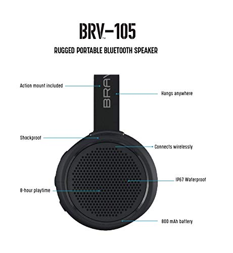 Braven BRV-105 Rugged Portable Bluetooth Speaker - Wireless Technology - Black