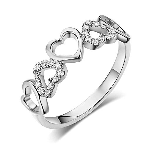 14K White Gold Heart Wedding Band Ring 0.12 Ct Natural Diamonds (0.12 Ct Natural)