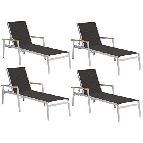 (Oxford Garden Travira TVL80BN4 Chaise Lounge - Black Sling - Natural Tekwood Armcaps - Set of 4)