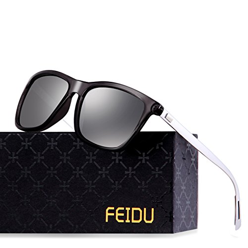 FEIDU Classic Polarized Wayfarer Sunglasses for Men Mirror Eyewear Unisex FD9003 (Silver, - Wayfarer Mirror Sunglasses