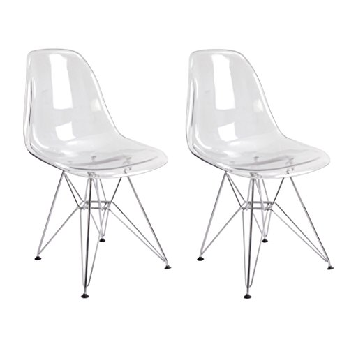 (Mod Made Mid Century Paris Tower Transparent Ghost Side Chair Dining Chair, Clear, Set of 2)