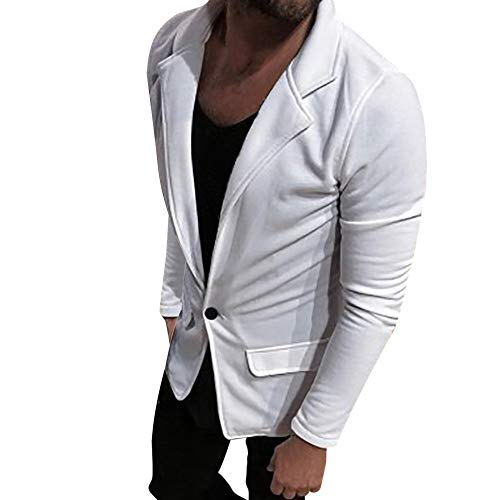 WUYIMC Fashion Men's Casual Formal Slim One Button Solid Suit Jacket Coat Top Blouse from WUYIMC