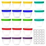 18 Pack Baby Food Storage, 4 oz Baby Food Containers with Lids, 6 Assorted Colors, with Free Lids Labels