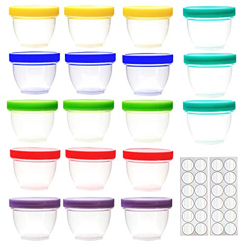 18 Pack Baby Food Storage, 4 Ounce Baby Food Containers with Lids, 6 Assorted Colors, with Lids Labels (Baby Food Storage 4 Oz)