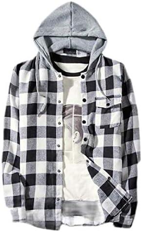 メンズチェックシャツ カジュアルロングスリーブ 軽量フード付きシャツジャケット