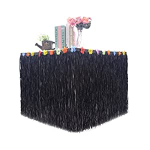 Hawaiian Hibiscus Table Skirt with Color String & Silk Artificial Flowers Party Decoration, Black, 9 FT 101