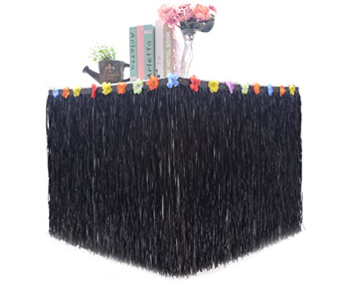 Hawaiian Hibiscus Table Skirt with Color String & Silk Artificial Flowers Party Decoration, Black, 9 FT