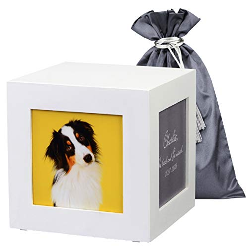 Modern white pet urn holds up to 85 cubic inches. Solid wooden keepsake safely secures ashes. Cremation memorial photo box holds 4 photos for your beloved cat, dog, rabbit, hamster etc.