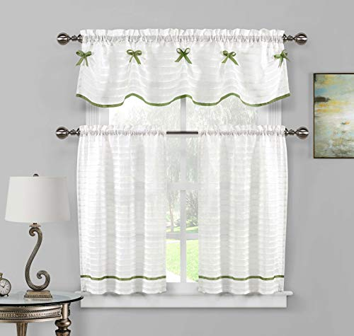Home Maison  - Carlee Semi Sheer W/ Bow Tie Kitchen Tier & Valance Set | Small Window Curtain for Cafe, Bath, Laundry, Bedroom - (White & Sage Green)