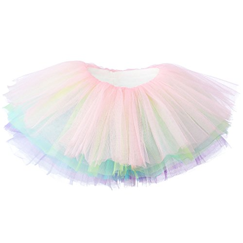 My Lello Baby Tutu Short Ballet Skirt 10-Layer (Newborn - 3mo.) Soft Pastel Rainbow -
