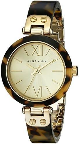 Anne Klein Women s 10 9652CHTO Gold-Tone Tortoise Resin Bracelet Watch