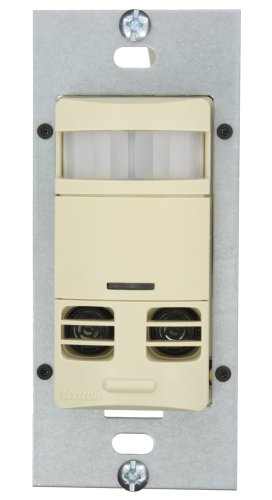 Leviton OSSMT-MDI Ultrasonic Infrared, Dual-Relay Multi-Technology Wall Switch sensor, 2400 Sq. Ft Major 400 Sq. Ft Minor Motion Coverage, Ivory
