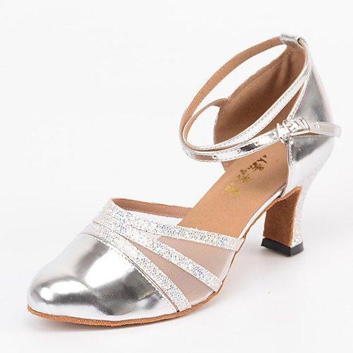 T.T-Q Zapatos de Baile de salón de Baile Moderno Personalizado Plata de tacón Plata