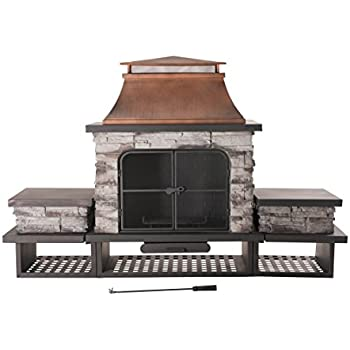 Sunjoy Bel Aire Fireplace large with two table-flats
