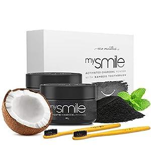 Blanqueador Dental Carbón Activado y Cepillos Bambu Natural mysmile – 100% Natural y Vegano, Rico en Bicarbonato de…