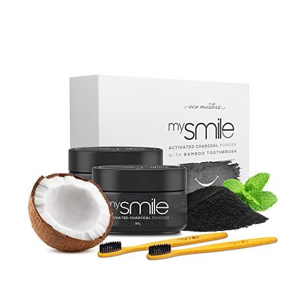 Blanqueador Dental Carbón Activado y Cepillos Bambu Natural mysmile - 100% Natural y Vegano, Rico en Bicarbonato de… 1