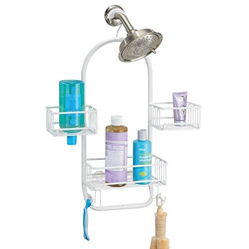 mDesign Modern Metal Wire Bathroom Tub & Shower Caddy, Hanging Storage Organizer Center - 2 Wash Cloth/Razor Hooks, 3 Baskets - for Bathroom Shower Stalls, Bathtubs - Rust Resistant - Matte White